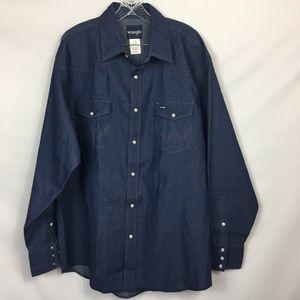 Wrangler Men Blue denim Western Work Shirt Cowboy